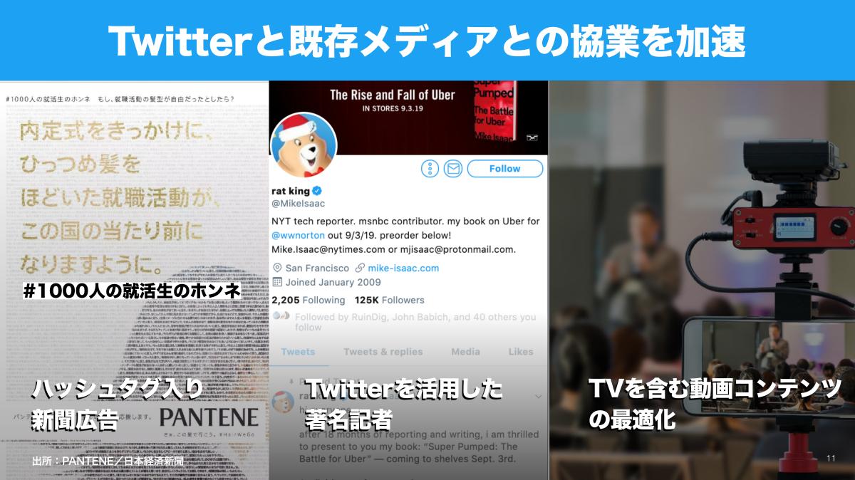 スライド画像1:「Twitterと既存メディアとの協業を加速」