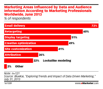 Marketing Areas Influenced by Data and Audience Information According to Marketing Professionals Worldwide, June 2013